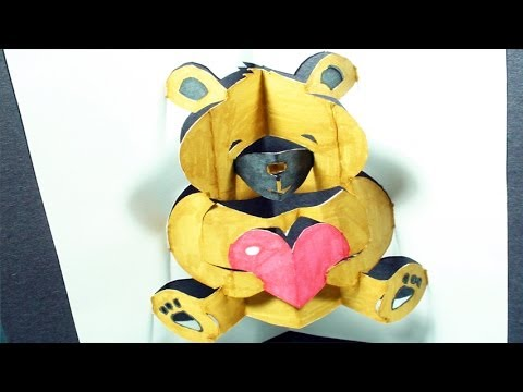 How to make a Teddy Bear: Pop-Up Card (Kirigami 3D) Valentine's Day ...