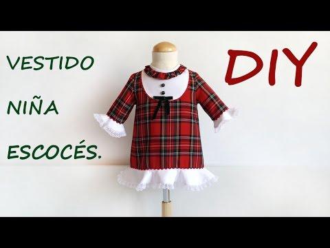 Vestido niña escoces. Como hacer ropa de niña.