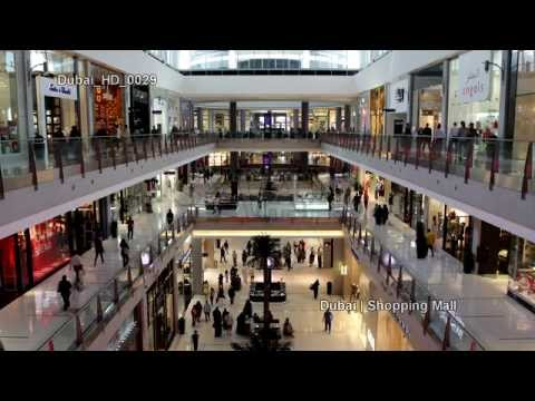 UHD Ultra HD 4K Video Stock Footage Dubai Largest Shopping Mall Center Aquarium Interior People