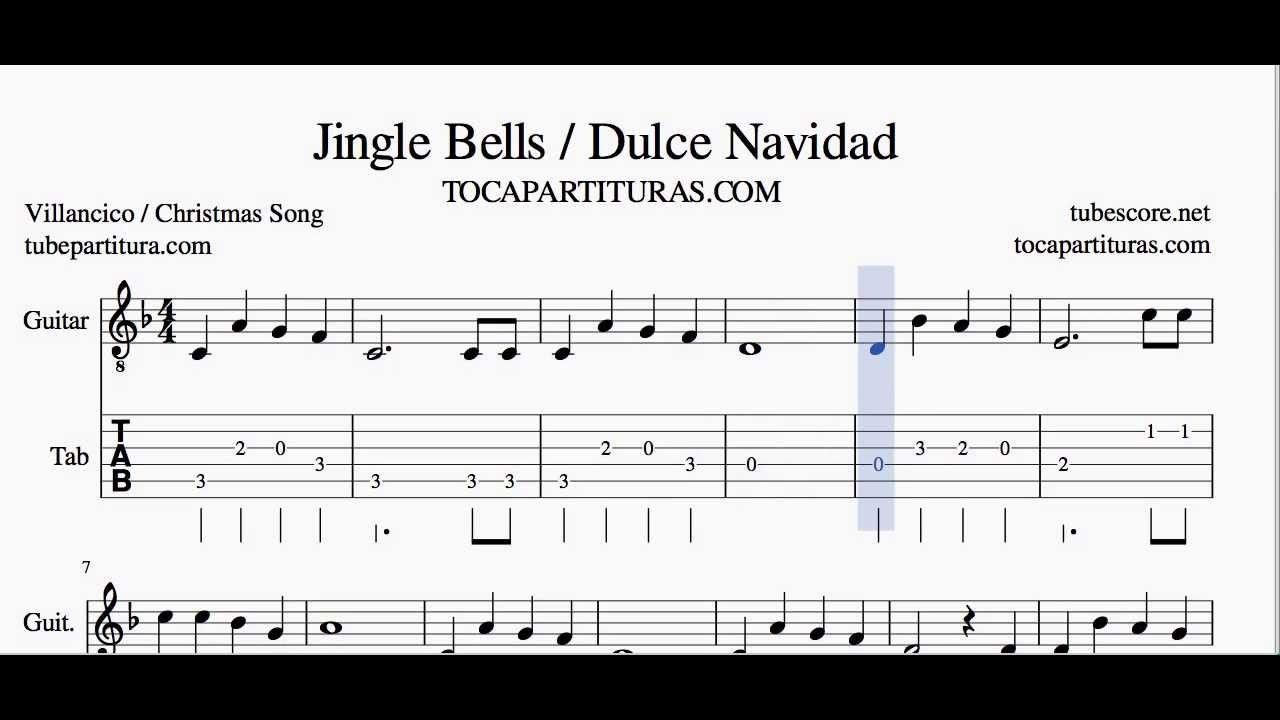 Navidad navidad partitura y tablatura de guitarra - Blanca navidad partitura ...
