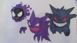 How To Draw Pokemon: No.92 Gastly, No.93 Haunter, No.94
