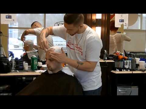 Straight razor head shave with hot towel