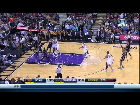 David West: 3-point shot in OT. Pacers @ Kings, 24 Jan. 2014