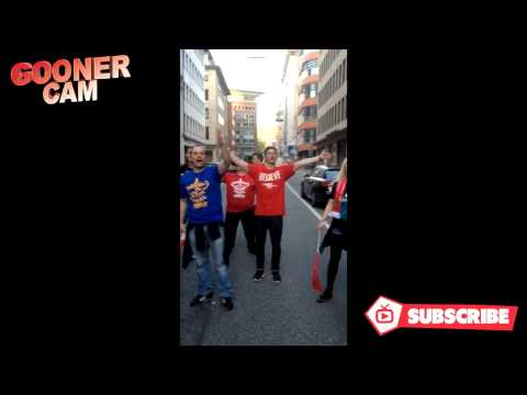 Arsenal Germany Fans Celebrating The FA Cup Win On The Streets Of Hamburg