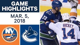 NHL Game Highlights | Islanders vs. Canucks - Mar. 05, 2018