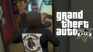 GTA 5: Funny Sons of Anarchy #1 (Strip Club Fail, Flare Game Prank, Biker on Fire)