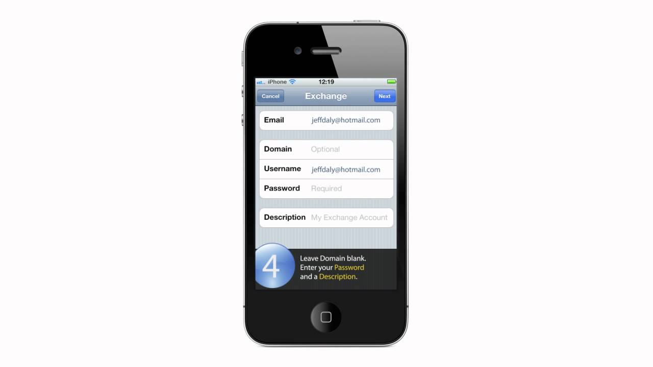 how to add a microsoft exchange account to iphone