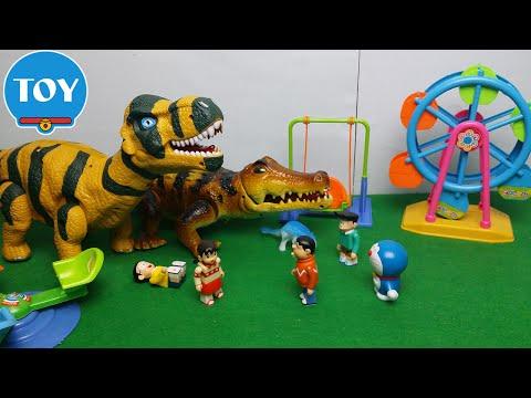 Chaien quậy phá cá sấu khủng long trong công viên - hoạt hình doremon chế đồ chơi trẻ em