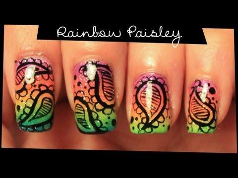 Rainbow Paisley nail art