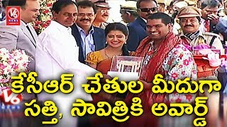 CM KCR Presents Award To Bithiri Sathi & Savitri | TS Formation Day Celebrations