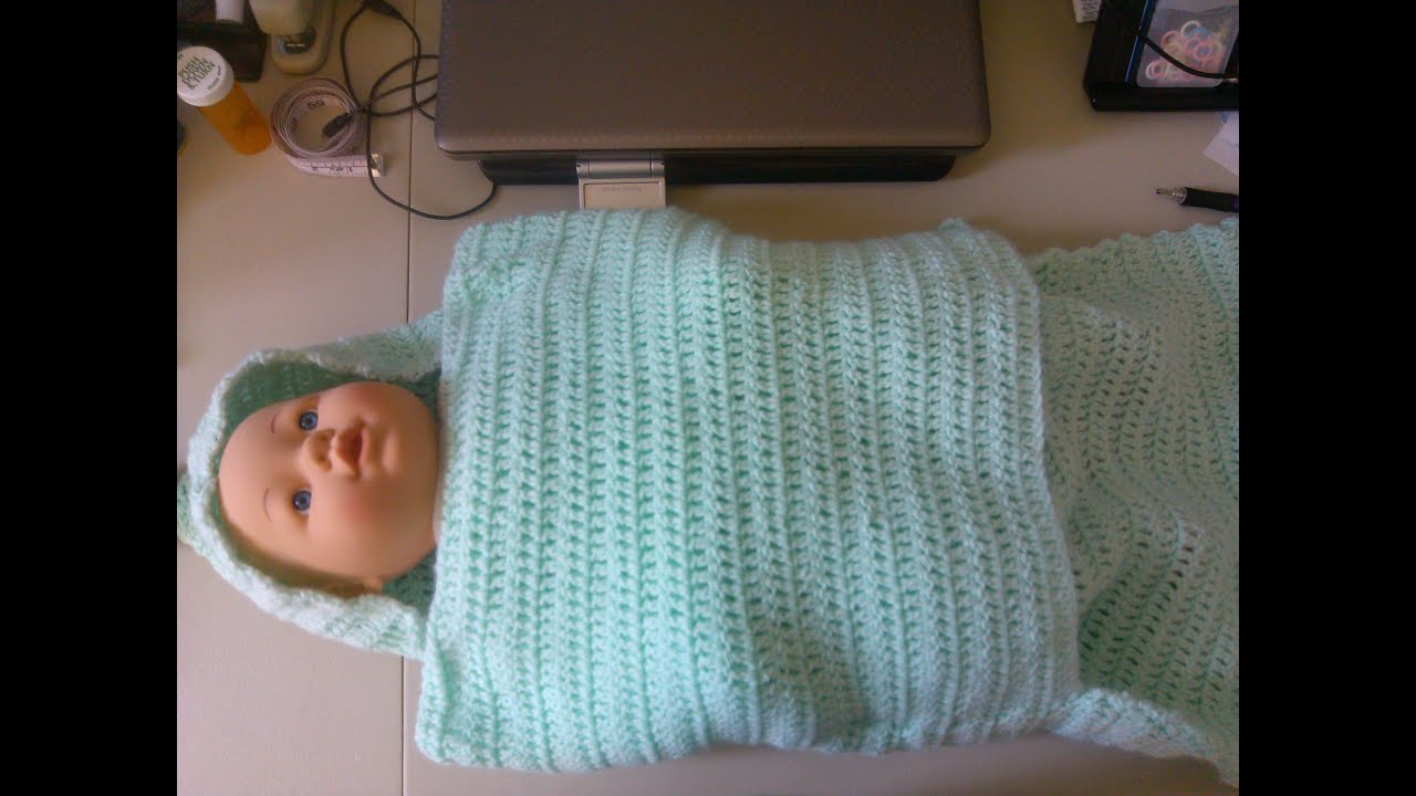Crochet Pattern For Shell Baby Blanket : Easy Crochet baby swaddler style blanket - YouTube