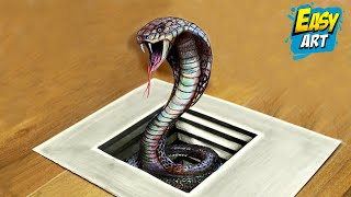 How to draw a 3D snake / Cómo dibujar  una culebra 3D /Ilusion optica