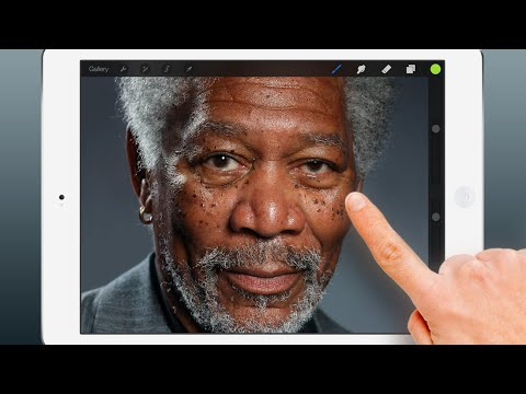 Realistic finger painting of Morgan Freeman