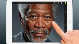 Photorealistic Finger Painting of Morgan Freeman on an iPad