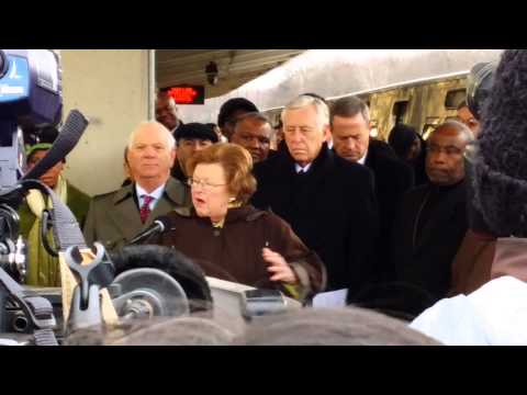 Senator Barbara Mikulski speaks at WMATA 7000-Series train debut