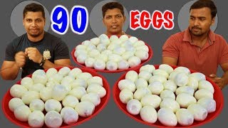 HMM!! 90 EGGS EATEN UNDER 12 MINUTES ||  MOST AND FASTEST EGG EATING CHALLENGE