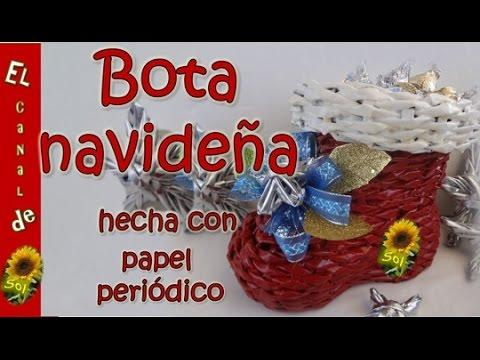 Bota navideña con papel periódico  petición - Christmas stocking with newspaper request