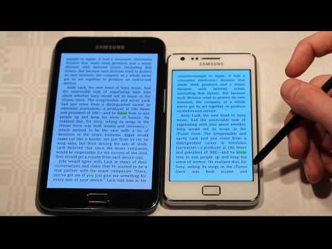 Samsung Galaxy S2 vs. Samsung Galaxy Note Screen Comparison Reading Hands-On Kindle Review!