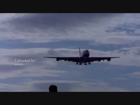 British Airways A380 Landing at Cardiff International Airport for the first time ( Wales )
