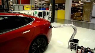 Tesla d�voile un syst�me de recharge en forme de serpent