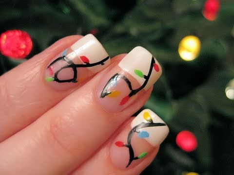 Holiday Lights Nail Art,