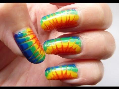 Rainbow Summer Sunburst Needle Drag Nail Art Tutorial Howto Hd Video