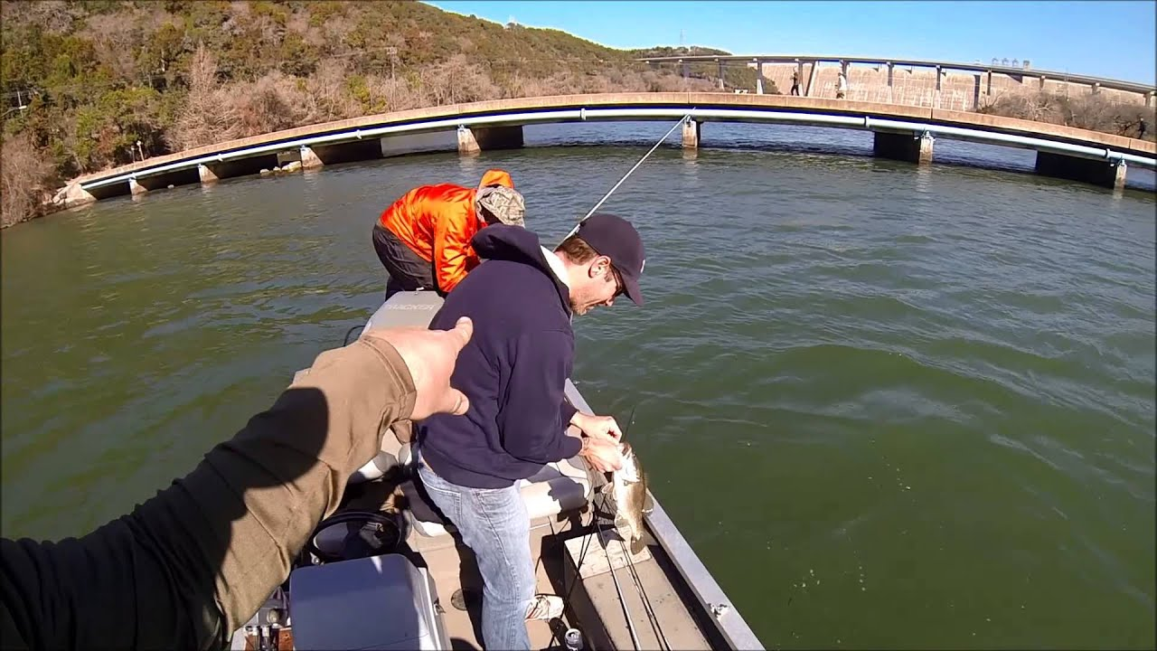 Bass fishing with buds lake austin january 2014 youtube for Lake austin fishing