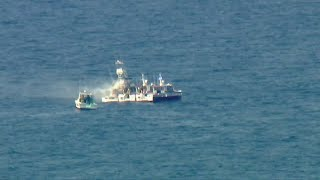 Fishing Boat Catches Fire Off Port Of L.a.