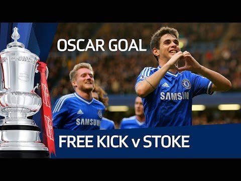 Fantastic Oscar freekick, Chelsea vs Stoke City FA Cup Fourth Round