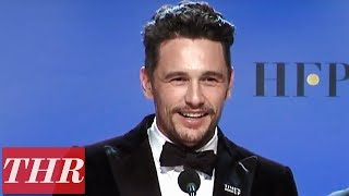 2018 Golden Globe Winner James Franco on Tommy Wiseau & Dave Coming Onstage for His Win | THR
