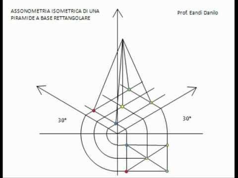 Assonometria isometrica piramide base rettangolare