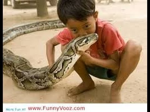 CHILDREN PLAY`S WITH BIGGAST SNAKE || EXCLUSIVE FOOTAGE 2014