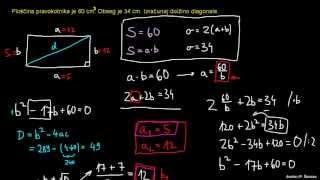 Ploščina in diagonala pravokotnika