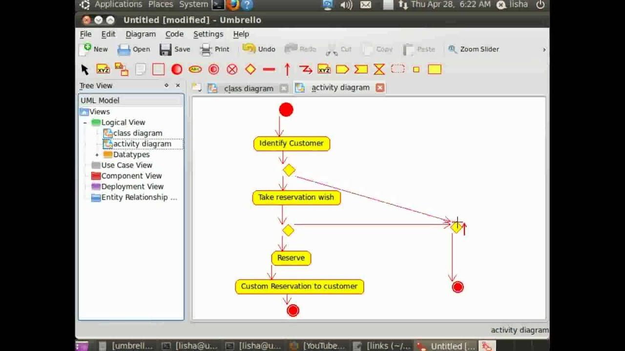 Umbrello Uml Modeller - Creating Activity Diagram