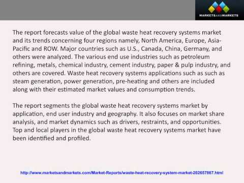Waste Heat Recovery Systems Market worth $53 12 Billion by 2018 - YouTube