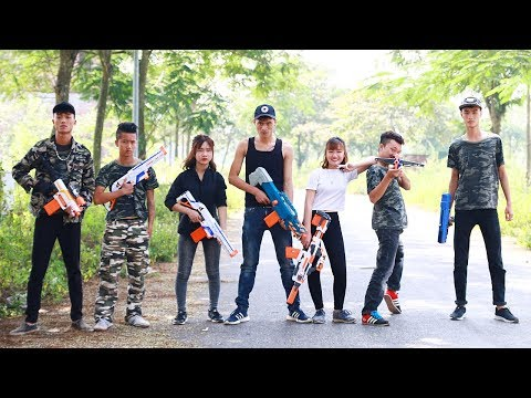 3T Nerf War : Squad Alpha Two Beautiful Girls Nerf guns Fight the Thugs Funny