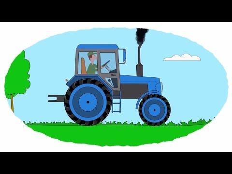 Zeichentrick - Malbuch. Farben lernen - Autos - Traktoren - Teil1