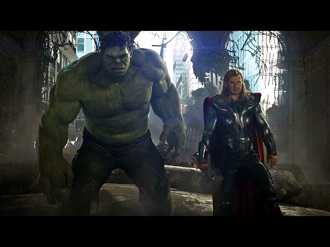 Avengers vs Chitauri Army - Hulk Punches Thor - Final Battle Scene - Movie CLIP HD