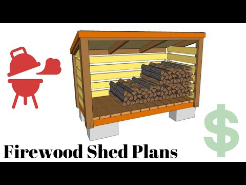Firewood storage shed plans - YouTube