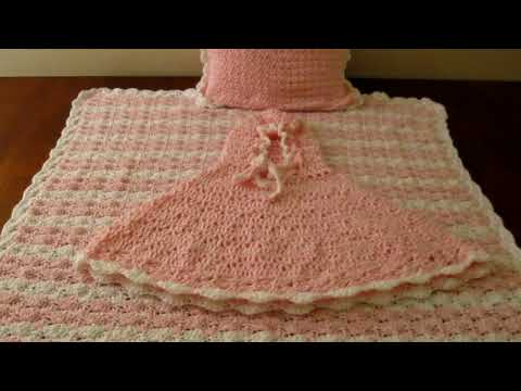 Crochet shell stitch baby blanket, pillow and matching poncho