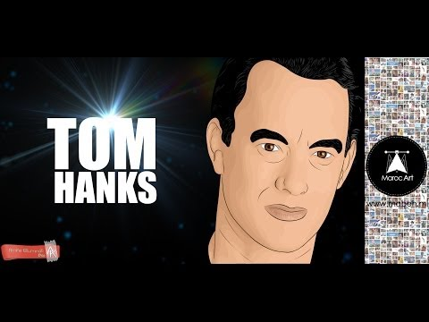Draw cartoone Tom Hanks Speed Art (#Photoshop) | Creative Maroc Art