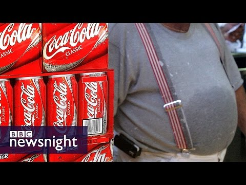 NEWSNIGHT: Paxman shows Coca Cola boss how much sugar is in a supersize cup