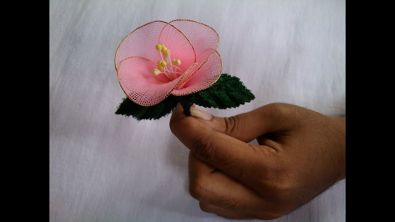 Fabric craft flower making socks flowers youtube for Flower making at home