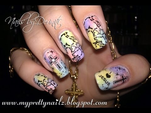 CHRISTIAN EASTER NAIL ART DESIGN TUTORIAL - I LOVE JESUS NAILS ...