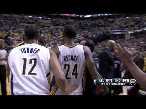 Paul George buzzer-beating three-pointer: Atlanta Hawks at Indiana Pacers, Game 2