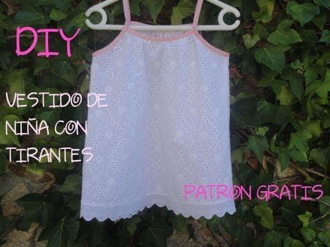 Diy costura para ropa de niña, muy fácil. Patrón gratis del vestido con tirantes.