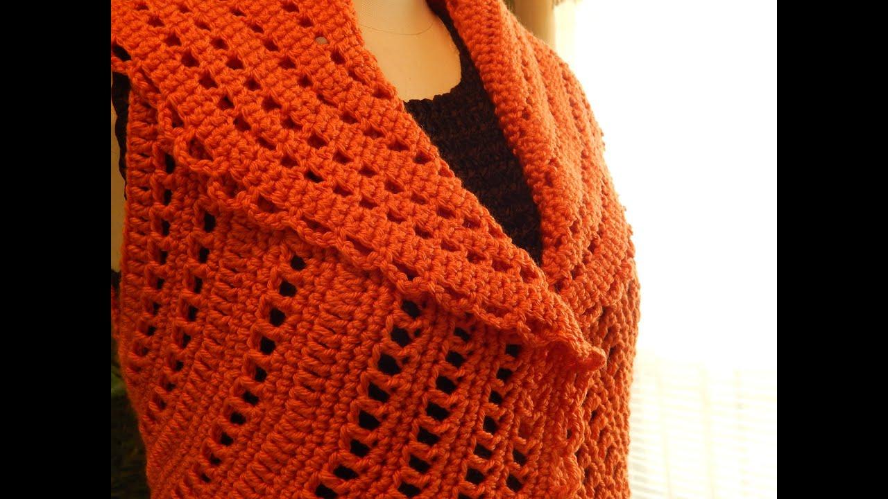 Bolero Chaleco Mandarina Crochet parte 2 de 3 - YouTube