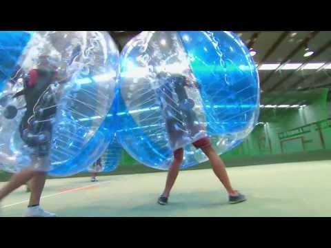 Bubble soccer with Rhys on Coxy's Big Break
