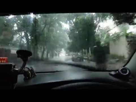 Driving through Gulshan, Dhaka in the rain.