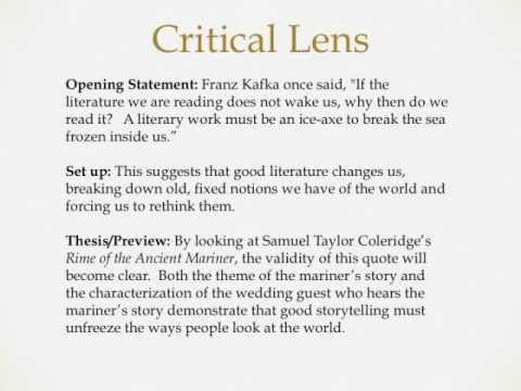 Critical lens essay example introduction
